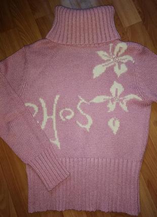 Тёплый вязаный свитер под горло