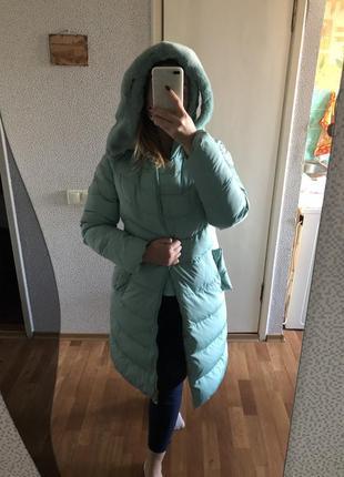 Пуховик с капюшоном мятного цвета/тёплая зимняя куртка