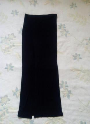 Макси- юбка, черная трикотажная юбка
