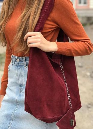 Замшевая бордовая сумка monica италия разные цвета