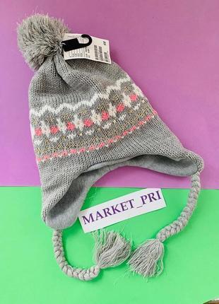 Тёплая шапка hm серого цвета для девочки
