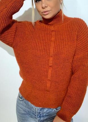 Вязаный плотный свитер шерсть объемный оранжевый, терракотовый,зимний,кофта