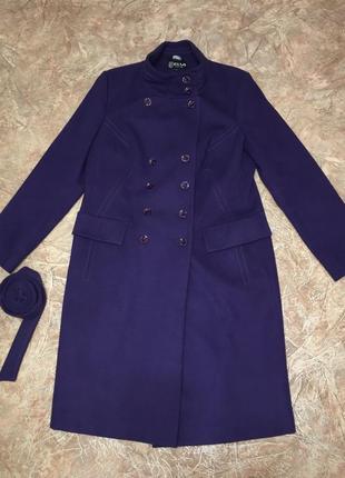 Пальто фиолетовое с поясом