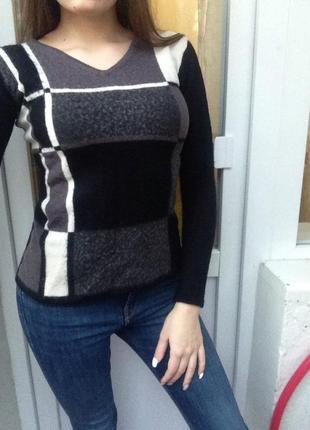 Зимний черный свитер,шерстяной свитер,свитерок,теплий светр джемпер шерсть кофта