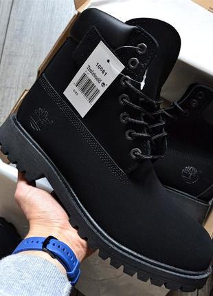 Шикарные зимнее ботинки timberland чёрные на меху