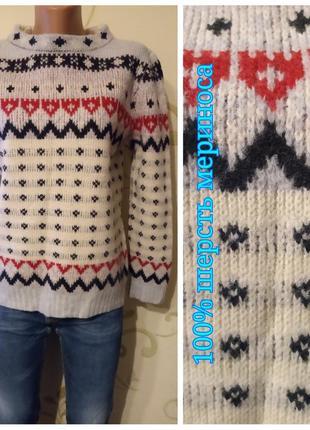 100% merino wool . теплый плотненький свитер джемпер пуловер стиль этно . шерсть меринос
