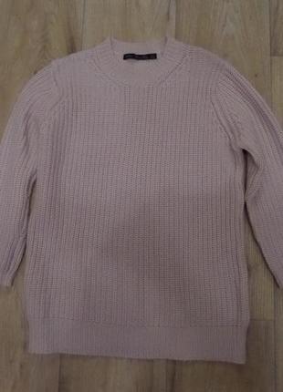 Пудровый свитер zara