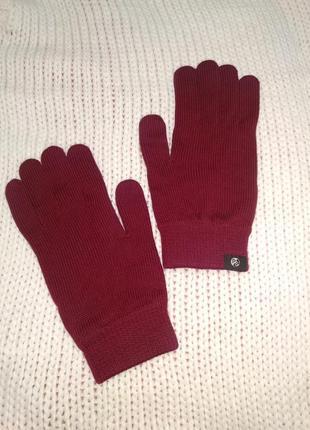 Оригинальные теплые  шерстяные перчатки ,шерсть мериносов ,цвет марсала