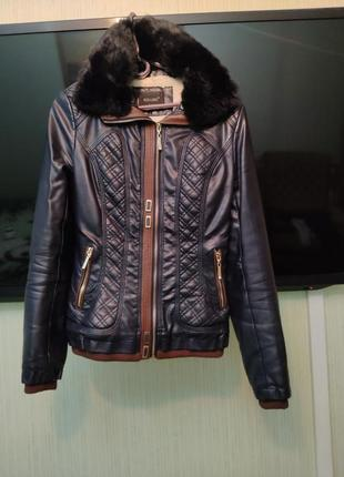 Теплая куртка экокожа
