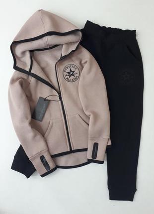 Теплый спортивный костюм для девочки converse с перчаткой, цвет кофе (начес)