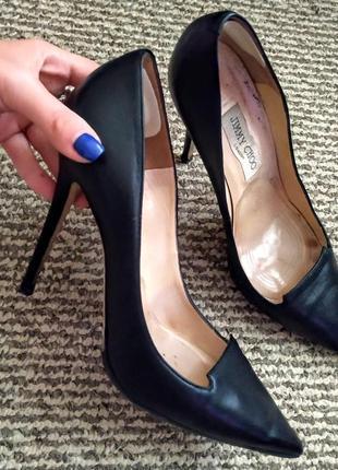 Туфли туфельки лодочки кожа чёрные оригинал 39 jimmy choo