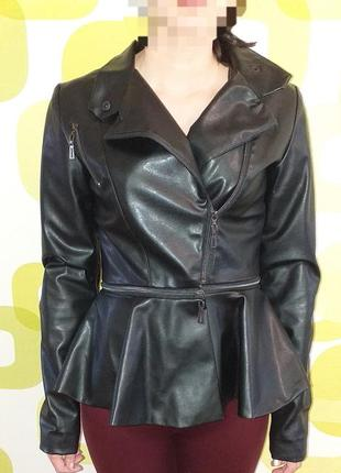 Куртка крутая с баской, эко кожа!
