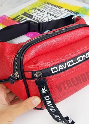 Хит продаж #6166-1 red david jones стильная яркая вместительная бананка