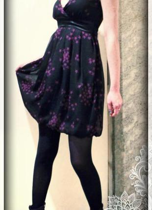 Платье-баллон,ампир,принт звезд,р.xs