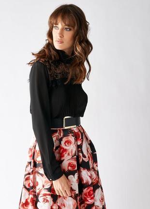 Шикарная чёрная классическая шифоновая блуза с кружевом италия
