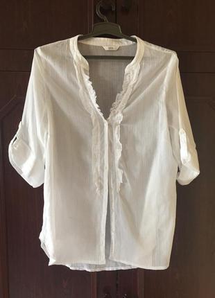 Модная базовая белоснежная батистовая блузка жабо большой размер