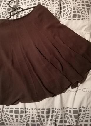 Лёгкая воздушная юбка миди коричневая солнце шёлк