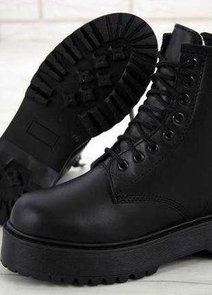 😊jadon mono black🤗 женские ботинки мартинс чёрные с мехом