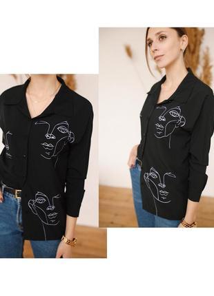 Чёрная блузка с актуальным принтом ❤️