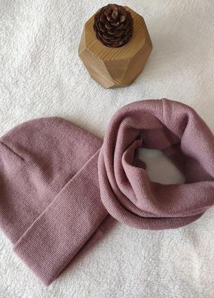 Набор шапка и хомут баф пудра розовый, шерсть+акрил, много цветов