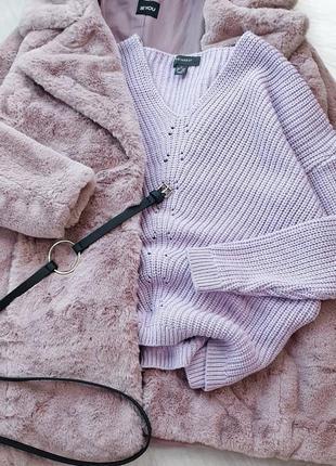 Объемный лиловый свитер