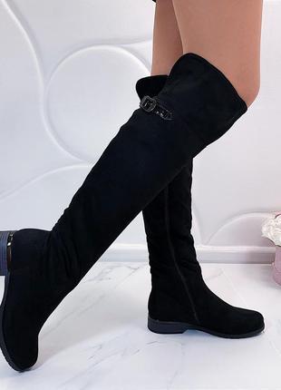 Зимние сапоги ботфорты на низком каблуке, тёплые ботфорты на меху.