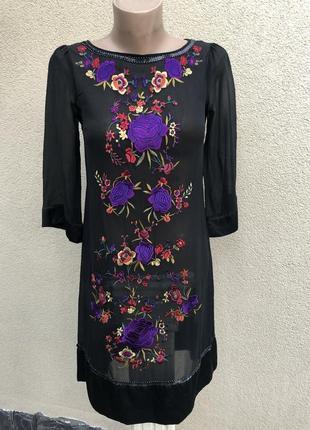 Легкая шёлк туника,платье с вышивкой,пайетки,этно стиль,маленький ращмер,
