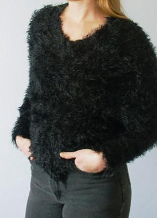 Теплый зимний черный свитер оверсайз oversize светр джемпер свитшот кофта пушистый травка