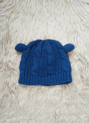 Синяя шапка с ушками