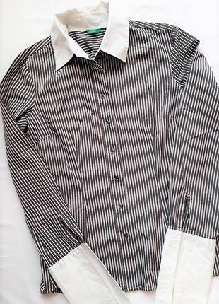 Рубашка в полоску под запонки женская