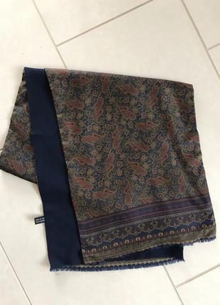 Шарф мужской шерсть+шёлк италия размер 30,5/ 140 см