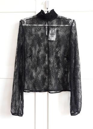 Гипюровая черная блуза от oysho, s