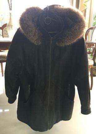 Зимняя натуральная кожа и мех курточка