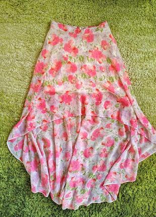 Офигенная асиметричная юбка topshop в цветы