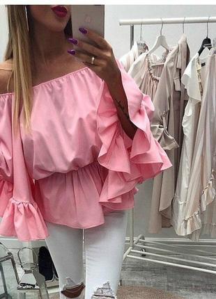 ✅красивые блузы из хлопка с открытыми плечами и воланами размеры с-м