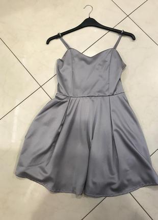 👑♥️final sale 2019 ♥️👑  красивое серо стальне мини платье с бантом