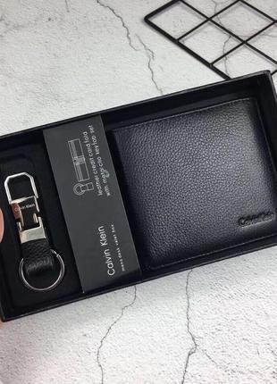 Мужской кожаный кошелек calvin klein чёрные подарок аксессуар