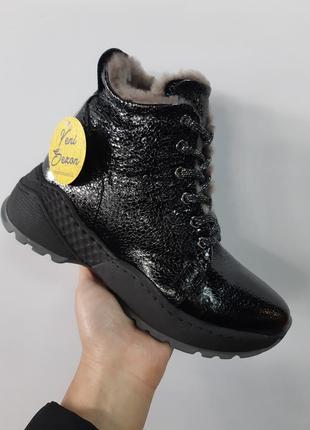 Кожаные зимние ботинки1 фото