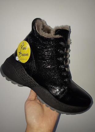 Кожаные зимние ботинки3 фото