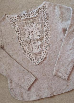 Теплый зимний свитер/кофта+кружево