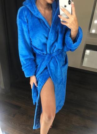 Женский мягкий теплый махровый халат длинный , уютный
