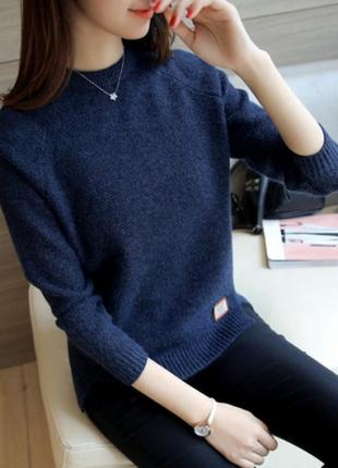 Пуловер свитер женский темно синий,шерсть шерстяной оверсайз