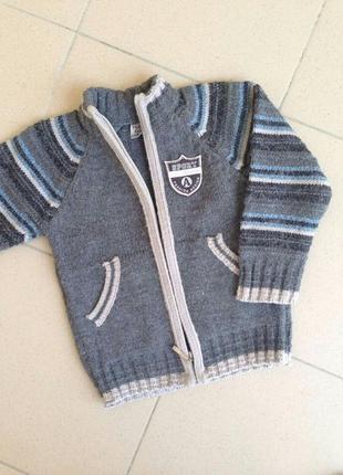 Теплая кофта шерстяной свитер на молние джемпер гольф yildiz kids