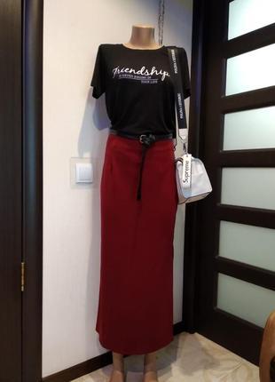Стильная брэндовая юбка карандаш макси бордовая трикотажная