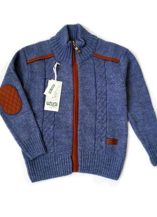 5-6 л свитер кофта на змейке 30%шерсть аппликация на локте премиум синий 110/116