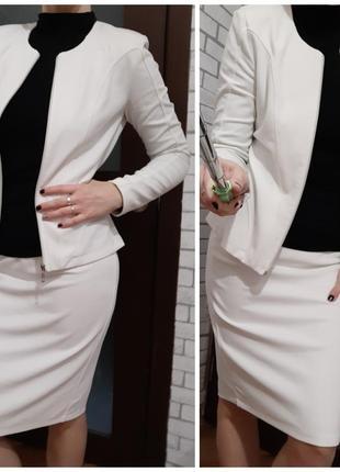 Костюм жакет юбка комплект белый пиджак деловой офисный классика