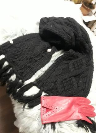 Черный шарф италия крупная вязка