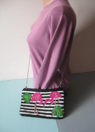 Невероятно красивая сумка - клатч - вышитая бисером - с фламинго!