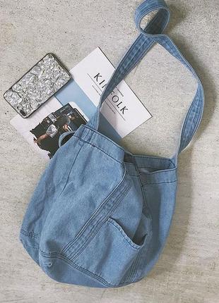 Сумка- торба джинсовая, голубая, новая