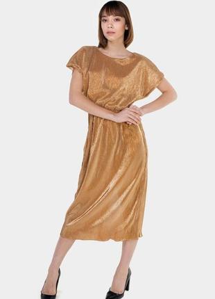 Золотое платье миди от известного украинского дизайнера андре тан.